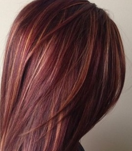 red-ombre-hair-gold-highlights-450x600